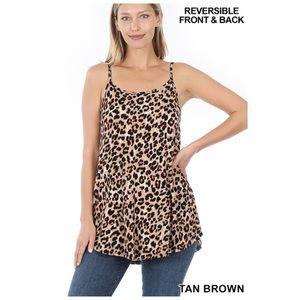 Leopard Print Scoop V Neck Swing Cami Tank Top NEW